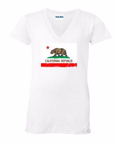 California Republic V-NECK WOMEN T-Shirt Cali Bear Flag West Coast Ladies Shirt