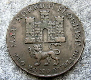 GREAT-BRITAIN-NORFOLK-amp-NORWICH-1792-MAY-NORWICH-FLOURISH-HALFPENNY-TOKEN