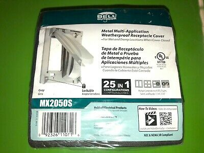 Grey Hubbell-Bell MX2050S Two Gang Two Device Flat Metal Weatherproof Receptacle Cover