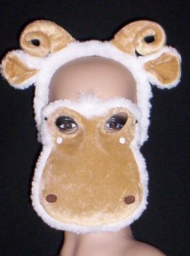 2 pc Lamb Mask Ram Horns Headband Billy Goat Gruff Chop Sheep Zodiac Aries Farm