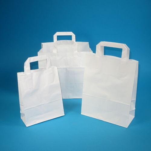 250 Papiertragetaschen Papiertüten Tragetaschen Shopper Papier weiß 18+8x28cm