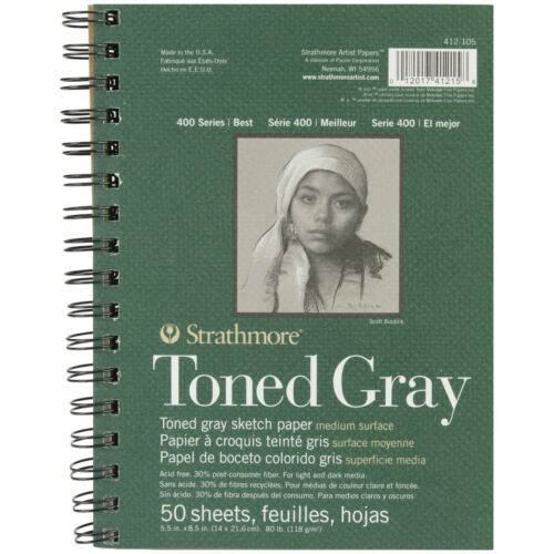 "Strathmore Toned Sketch Spiral Paper Pad 5.5/""X8.5/""-Gray 50 Sheets"