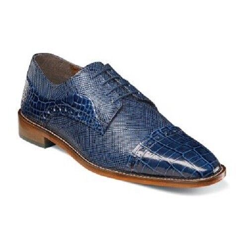 Mens shoes Stacy Adams Rodrigo Leather Cap Toe Oxford bluee Lace Up  25168-400