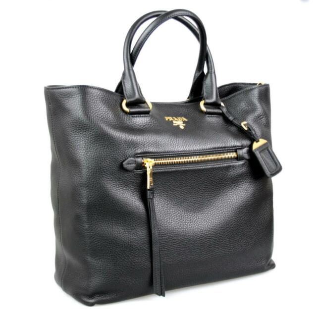 14559d8fecca98 Authentic PRADA Black Vitello Daino Leather Strap Tote Shoulder Bag ...