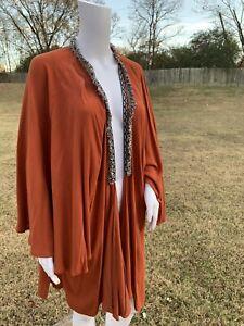 UMGEE-Kimono-Open-Cardigan-Duster-Boho-Long-Orange-Fringe-Bohemian-Jacket