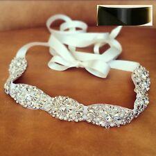 "Wedding Dress Sash Belt - Crystal Pearl Sash Belt = 20"" long = BLACK SATIN SASH"