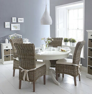 sale retailer b962e 7ed82 Details about SHABBY CHIC White round dining table a wicker chairs set NEXT  STOCK IN OCTOBER