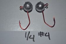 1/4 BALL JIG HEAD CRAPPIE PANFISH LURE NO COLLAR #4 RED SICKLE 100 PACK