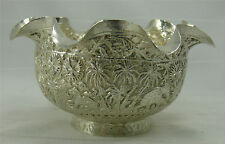 Belle coupe, argent massif Chine/Indochine/Siam/Inde, riche décor animalier.
