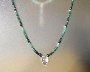 Emerald-Clear-Quartz-amp-Sterling-Silver-Necklace-17-034-19-034
