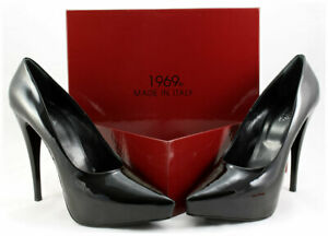 1969 Lackpumps Gr. 43 Leder Plateau High Heels Hand Made in Italy Luxus pur