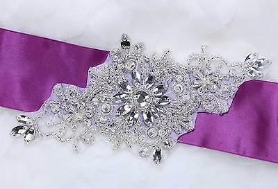 Wedding Snowflake Flower Belt Sash DIY Beaded Applique Bridal Patch