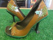 """PRADA Vintage Napa Leather Green/Aqua/Brown Leaf Acorn 4"""" Peep Heels 36 & 36 1/2"""