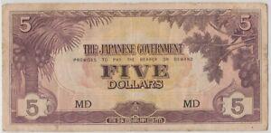 Mazuma *M1283 Malaya Japanese WWII JIM 1942 $5 MD VF