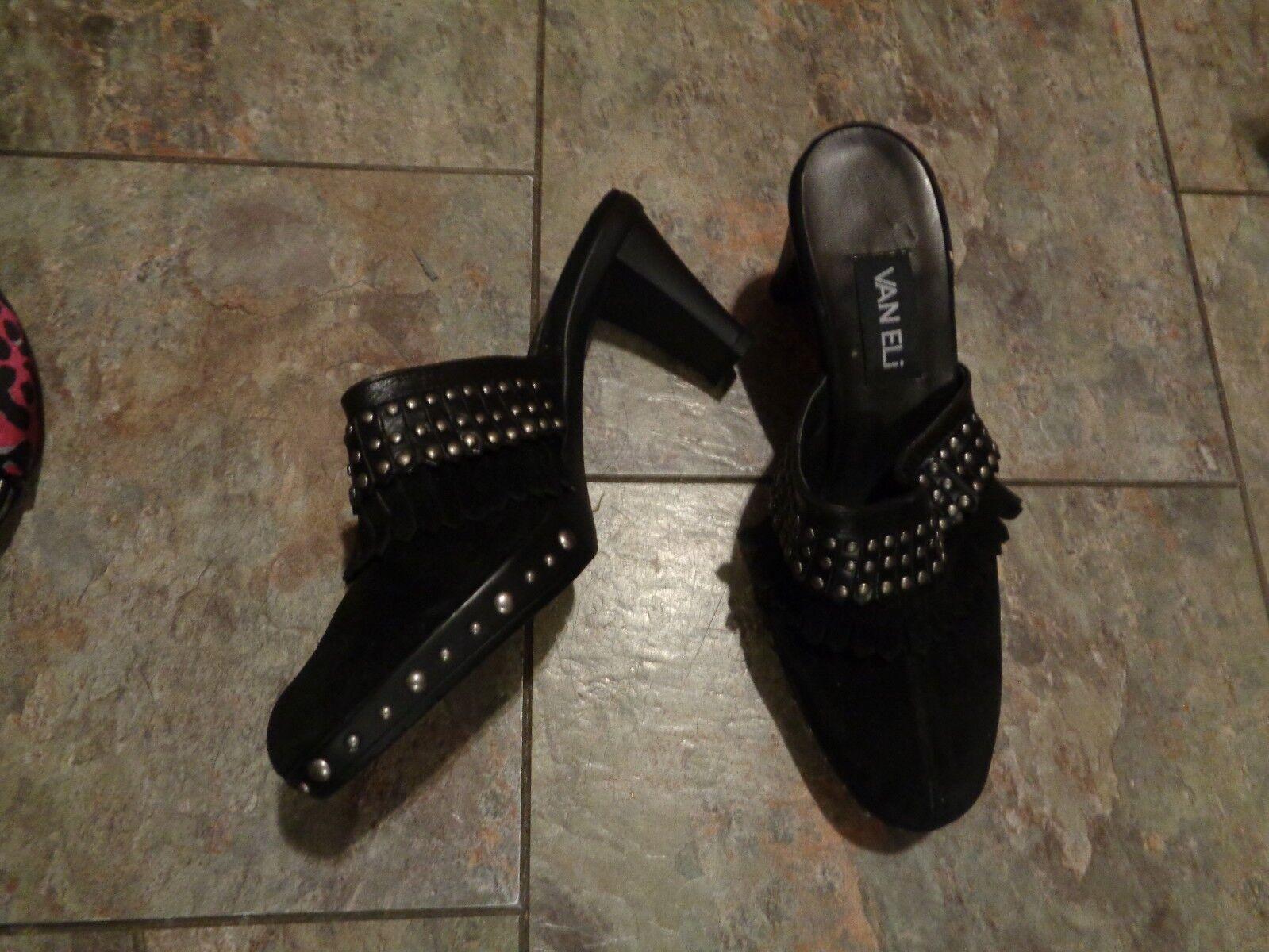 Vaneli schwarz suede leather leather leather tassel heels schuhe Größe 8 1 2 a29335