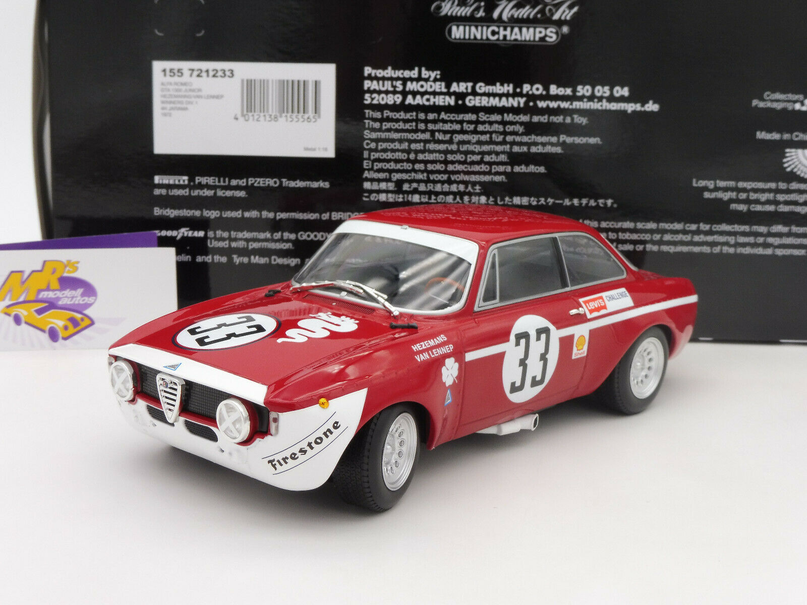 Minichamps 155721233 # ALFA ROMEO GTA 1300 Junior WINNER 4h. Jarama 1972 1:18