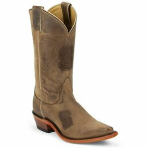 Nocona-LDNCS11-Women-039-s-North-Carolina-State-Brown-Cowhide-Branded-College-Boots