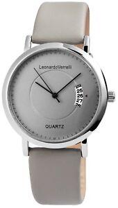 Leonardo-Verrelli-Herrenuhr-Grau-Analog-Datum-Kunst-Leder-Quarz-X2900106001