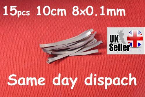 15 x 100x8x0.1mm Nickel Acier Plaqué De Soudage Bande Feuille Pour Batterie Spot Welder