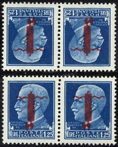 Italy-SOCIAL-REP-1944-KVEIII-o-PRINT-INVERTED-pair-SC-5-MNH-1-COPY-CV-60-00