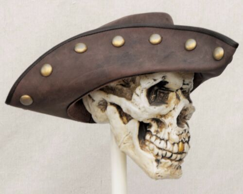 Swashbuckle en Cuir Marron Chapeau Pirate Plume Costume Cosplay reconstitution