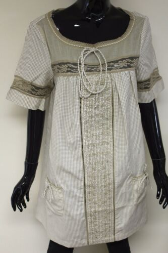 Carling Paris womens check short sleeve lace detail smock shift dress top 32285