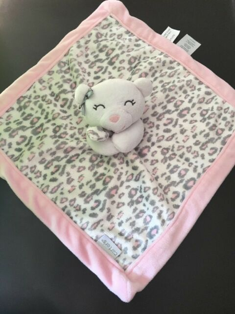 NWT Koala Baby Cheetah Leopard Pink Brown Cream Baby Blanket Soft Plush Lovey
