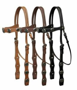Western Leather Headstall w/ Star Conchos & Reins