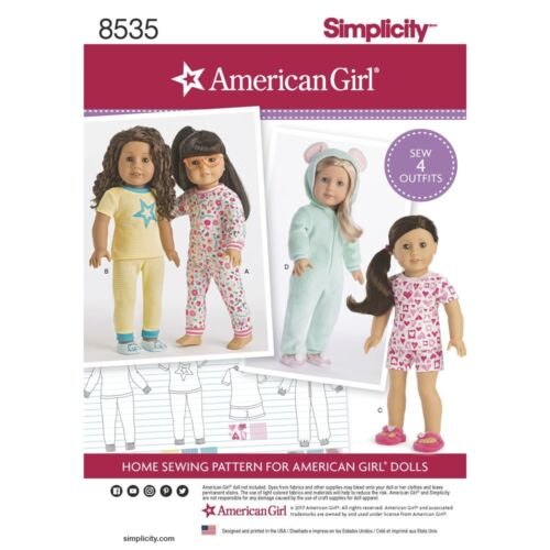 SEWING PATTERN AMERICAN GIRL DESIGNS FOR DOLLS PAJAMAS~PJS FIT TENNEY~GABRIELA