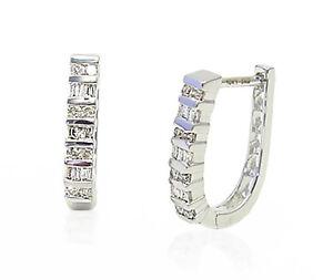 14K-White-Gold-Diamond-Hoop-Earrings-Round-amp-Baguette-25ct-Oblong-5-8-Inch