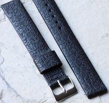Long Length matte black Genuine Saddle Leather 16mm vintage watch band 1950s/60s
