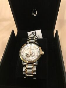 AUTOMATIC-BULOVA-Skeleton-Gold-Tone-Steel-amp-White-Dial-Mens-Watch-42mm-98a230