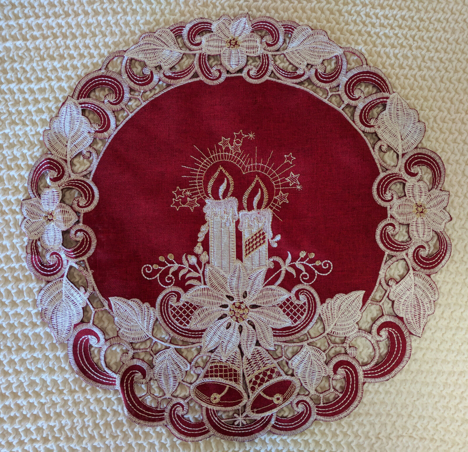 Dresser Scarf Red Poinsettia Embroidered Christmas Candle 54 Inch Runner Doily