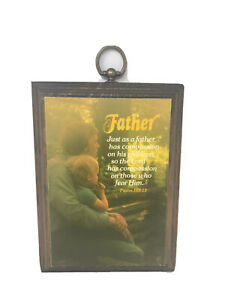 """Vintage Wood Father Plaque Wall Hang Decoration Psalm 103:13 7.5""""x5.5"""" EUC"""