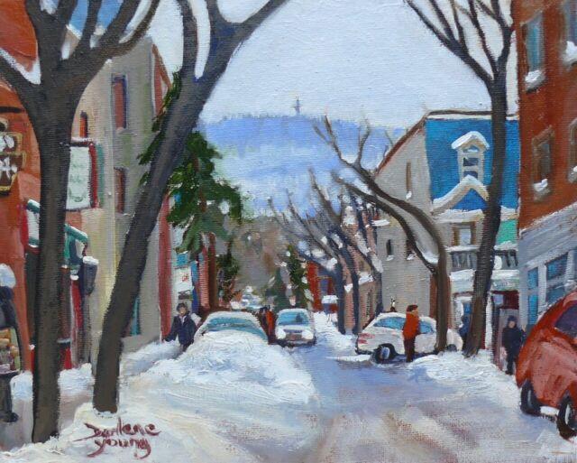 Montreal Winter Scene, Le Plateau,  8x10, Oil , Darlene Young Canadian Artist