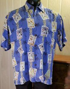 KAHALA  San Diego Padres  Blue Hawaiian Shirt ~ Baseball Card Print ~ Sz M RRare