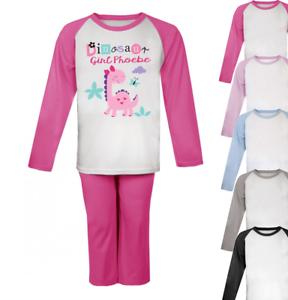Personalised Dinosaur Girl Pyjamas Girls Pyjamas Christmas Gifts Custom