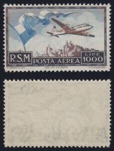 San-Marino-1951-Posta-Aerea-034-Bandierone-034-L-1000-n-A99-MNH-g-originale-integra