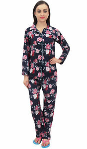 Bimba-Floral-Print-Navy-Blue-Women-039-s-Shirt-With-Pajama-Pants-2-Pcs-Nightwear