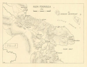 Huon Peninsula Campaign 1943 44 Papua New Guinea World War 2 Airfields 1961 Map Ebay