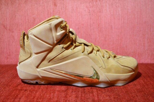 super popular 1f973 800b6 Nike Lebron XII EXT QS Wheat Metallic Gold Elite Shoes Size 12 DS