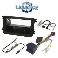 BLACK SINGLE/DOUBLE DIN VOLKSWAGEN TOURAN II 2010 ONWARD FULL FASCIA FITTING KIT