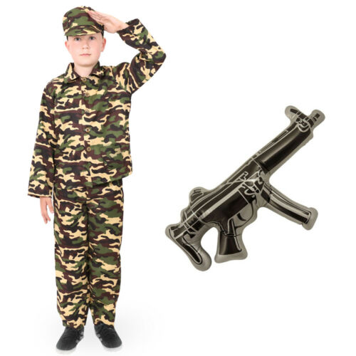CHILDS ARMY BOY COSTUME SOLDIER MILITARY CAMOUFLAGE ARMY ACCESSORIES FANCY DRESS