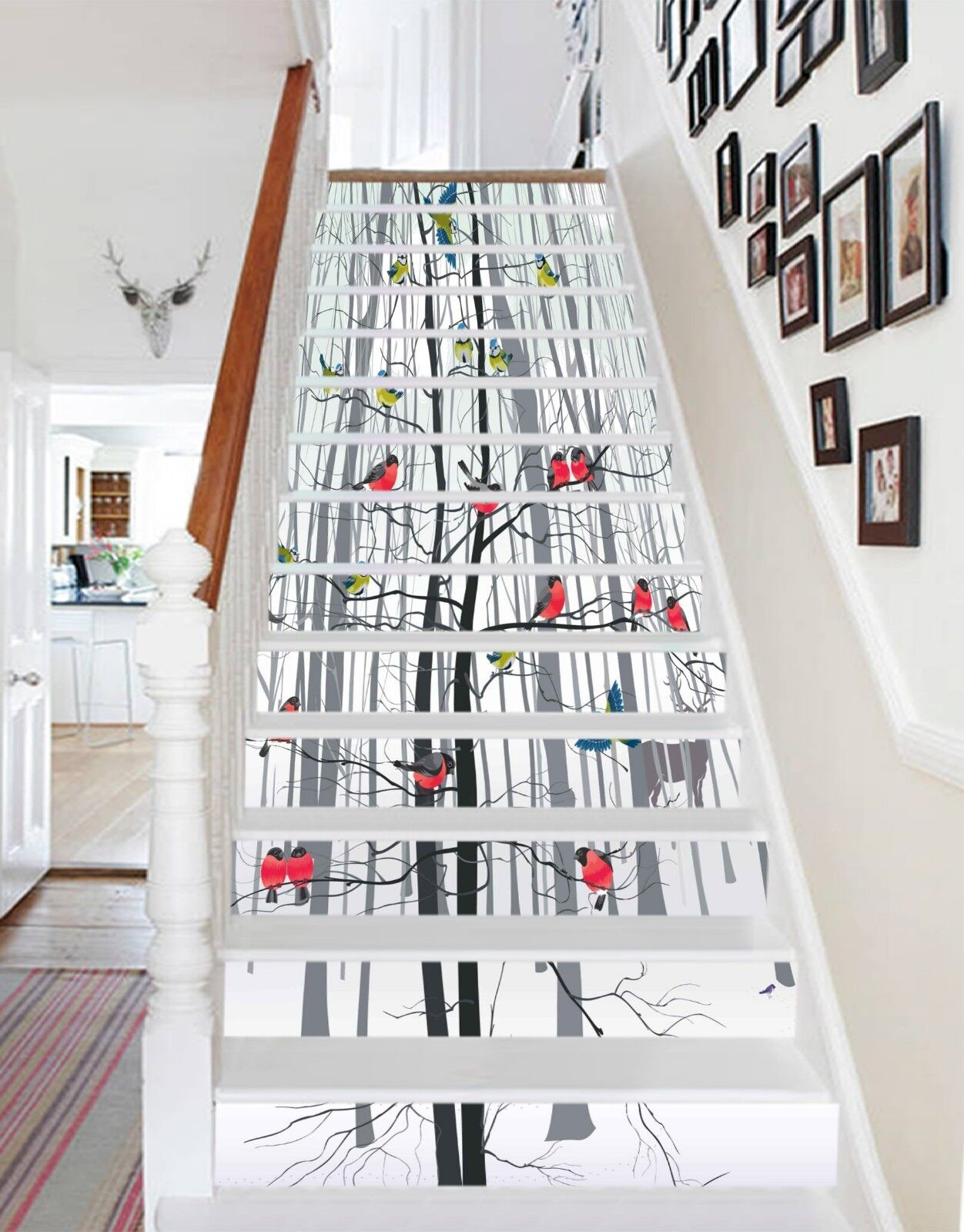 3D Branches Birds Stair Risers Decoration Photo Mural Vinyl Decal Wallpaper UK