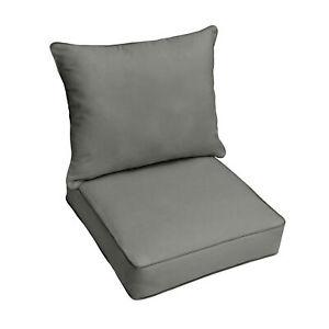 Sunbrella Charcoal Grey Indoor Outdoor Deep Seat Pillow Chair Cushion Set Ebay