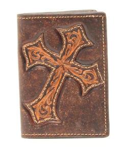 DARK-BROWN-Tooled-CROSS-Leather-BUSINESS-CARD-HOLDER-Bi-fold-License-Window-17