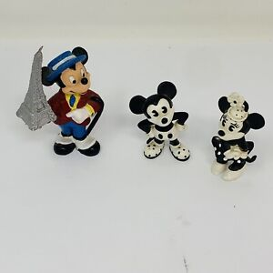 Disney Vintage Bullyland Mickey Minnie Mouse Pie-Eyed PVC Black White Figure Set