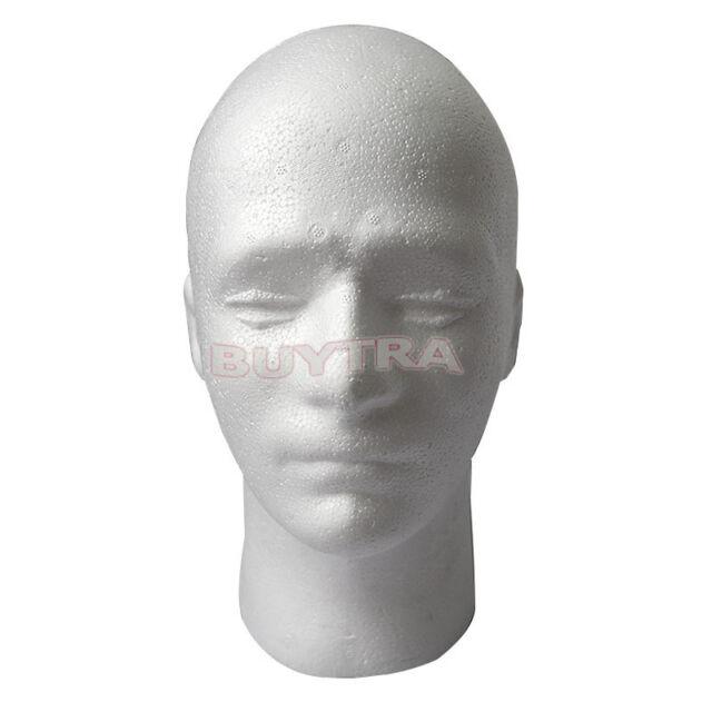 New Male Styrofoam Mannequin Manikin Head Model Foam Wig Hair Glasses Display M&