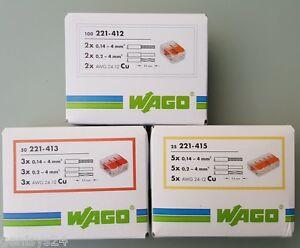 verbindungsklemmen steckklemmen wago klemmen set 221 412 413 415 175 stk set ebay. Black Bedroom Furniture Sets. Home Design Ideas
