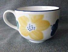 Big Coffee/Tea/Soup Cup/Mug Ceramic White/Blue Trim Floral Made in England